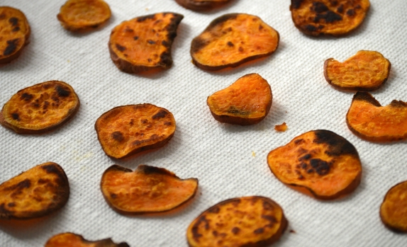 cooked sweet potato chips