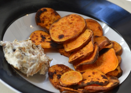 sweet potato chips and onion dip v 2
