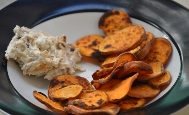 sweet potato chips and onion dip