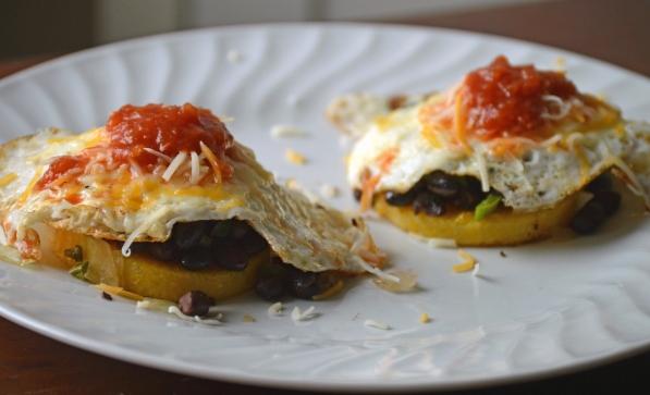 huevos rancheros over polenta cakes