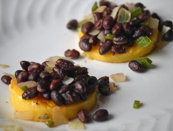 polenta cakes with black beans
