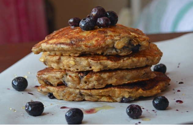 No Sugar Blueberry Pecan Pancake Stack