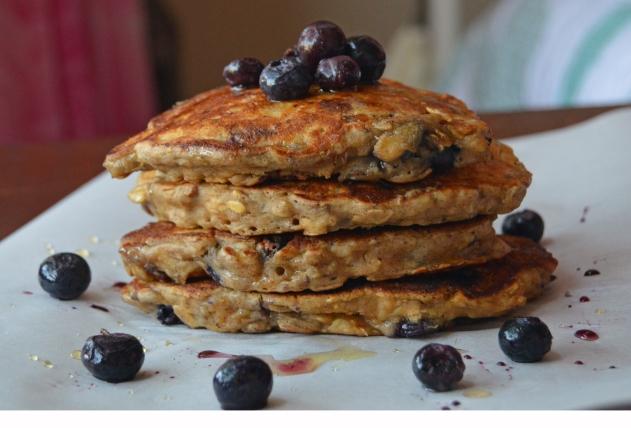 No Sugar Blueberry Pecan Pancake Stack