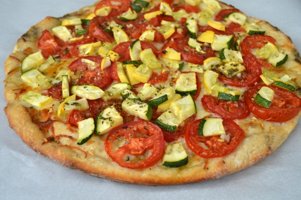 Inside out summer veg pizza- side