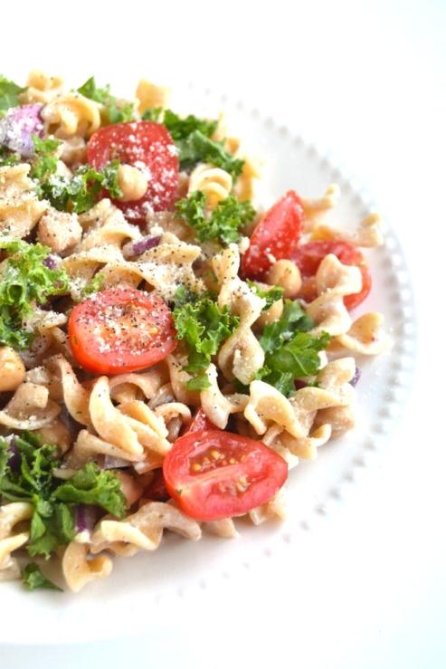 Kale Caeser Pasta Salad